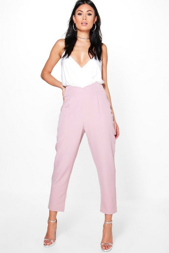 Womens Blush Grazi Wrap Waist Cropped Tailored Trousers