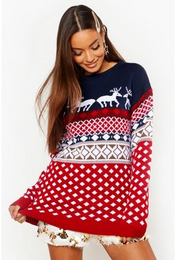 Womens Navy Reindeers Christmas Jumper