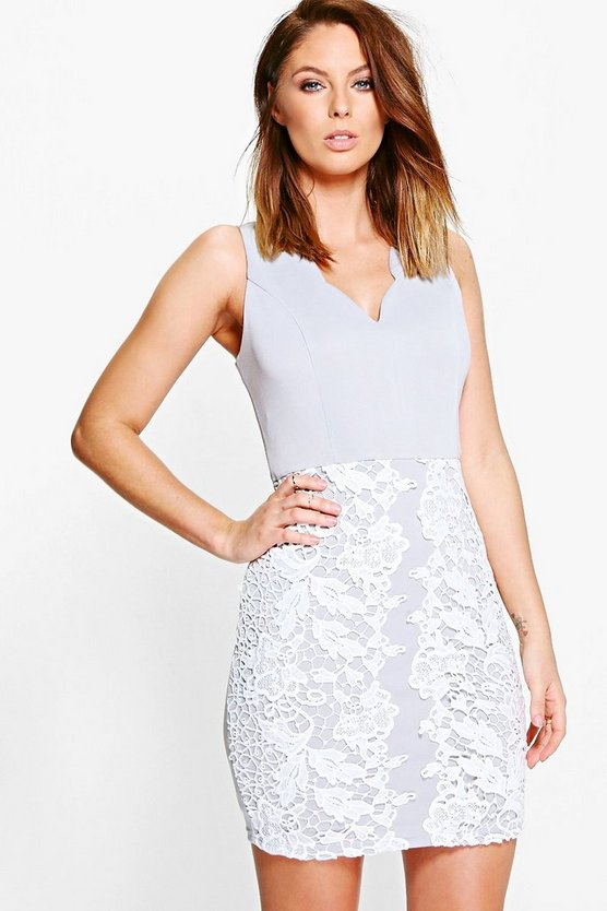 Gia Scallop Neck Crochet Panel Bodycon Dress