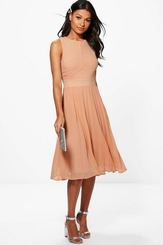 Womens Blush Chiffon Pleated Skirt Midi Skater Dress