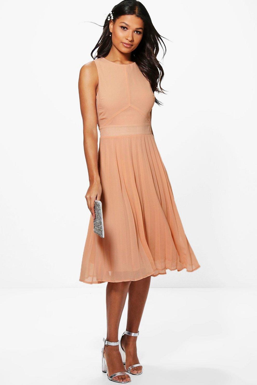 710739ce6139 Chiffon Pleated Skirt Midi Skater Dress | Boohoo