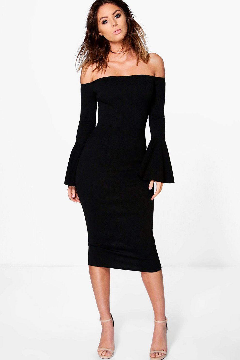 aa8bef4e42f Lana Off Shoulder Flared Sleeved Midi Dress