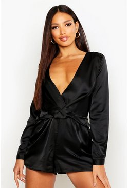 Womens Black Twist Front Satin Playsuit