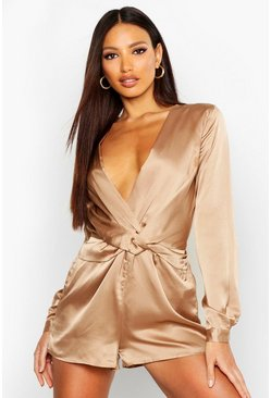 Womens Mocha Twist Front Satin Playsuit