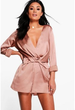 Rose Twist Front Satin Playsuit