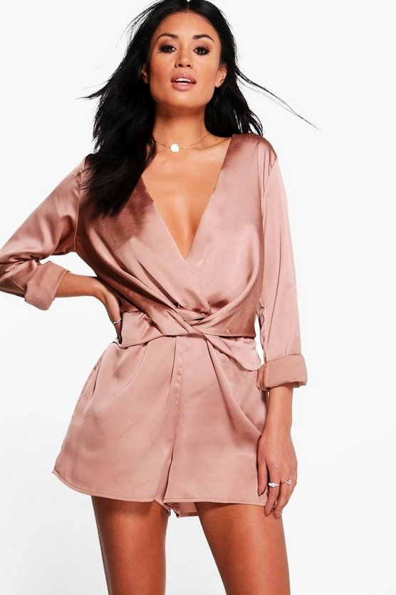 Womens Rose Twist Front Satin Playsuit