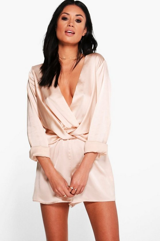 Womens Sand Twist Front Satin Playsuit