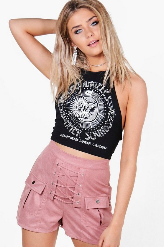 Jen Highwaist Lace Up Pocket Detail Suedette Shorts