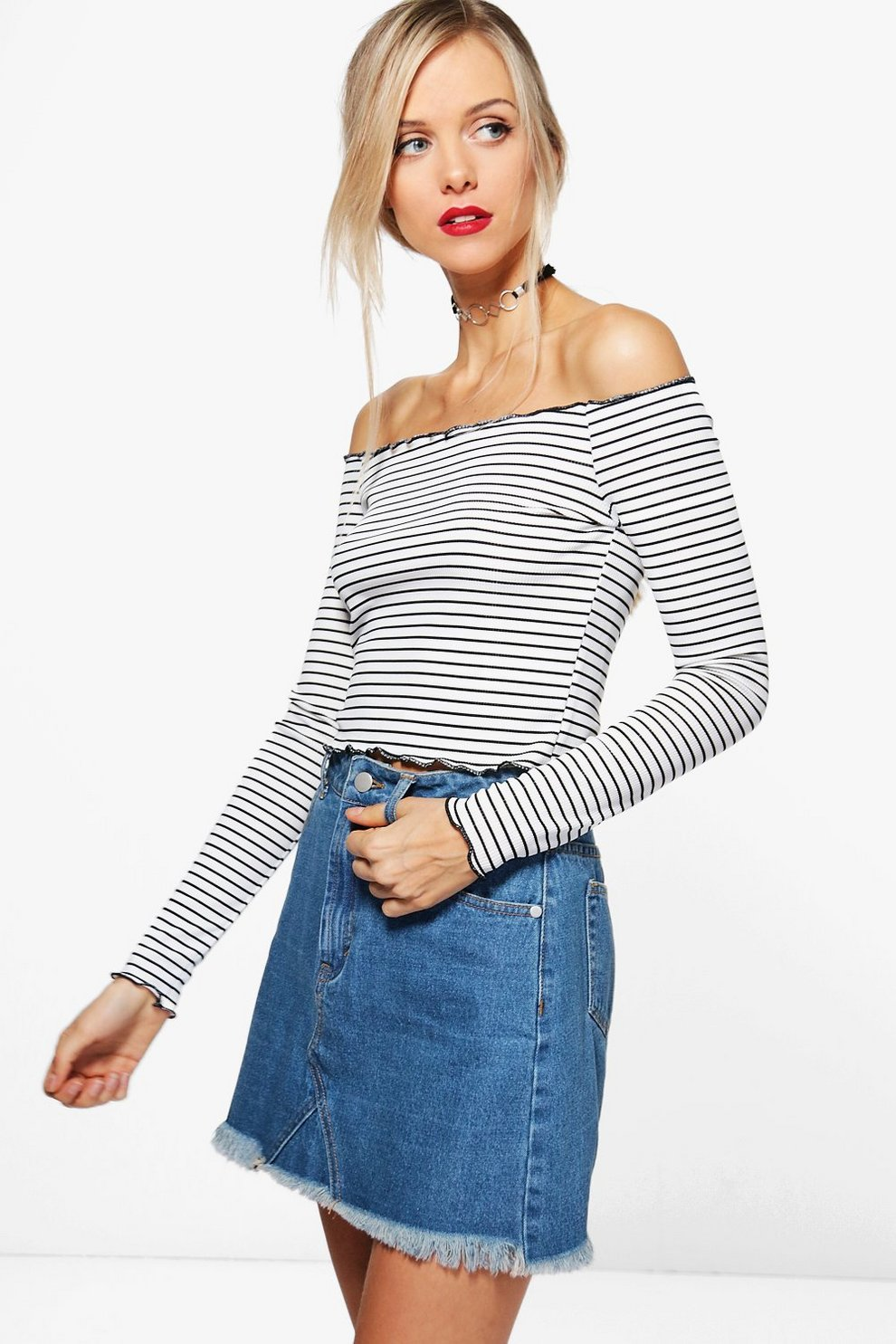 4c244a3e577d5 Stripe Off The Shoulder Top