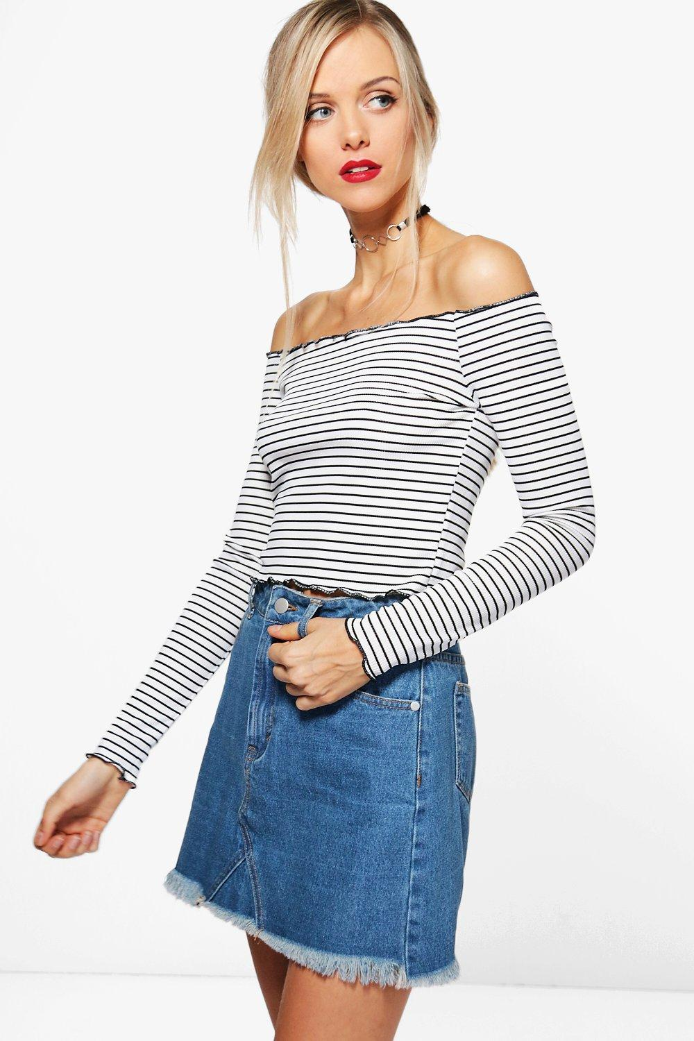 8f5e85efb9b4ac Stripe Off The Shoulder Top. Hover to zoom