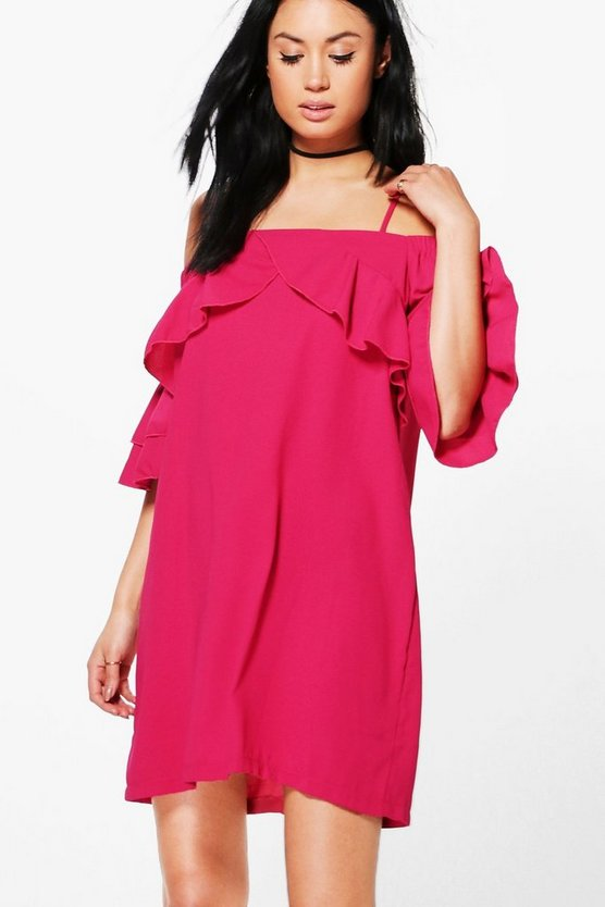 Una Cold Shoulder Ruffle Shift Dress