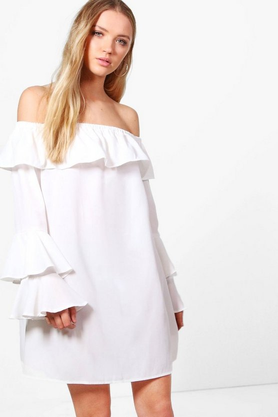 Julie Off Shoulder Flute Sleeve Shift Dress