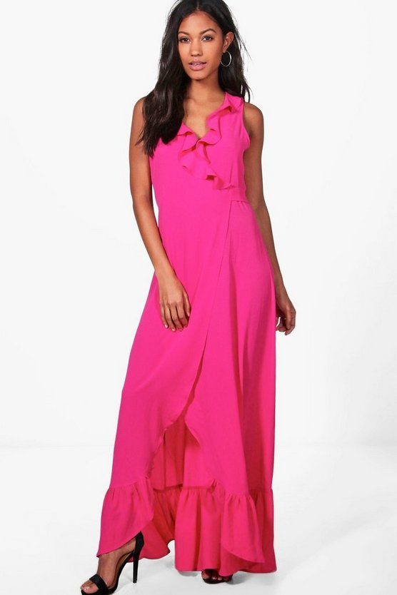 Iva Ruffle Wrap Sleeveless Maxi Dress