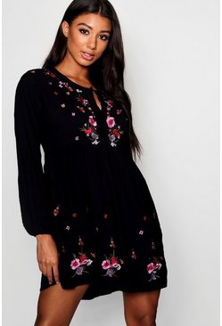 Womens Black Embroidered Smock Dress