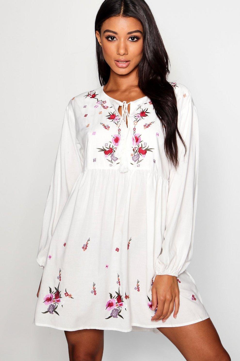 324b92c3db0ef Embroidered Smock Dress | Boohoo
