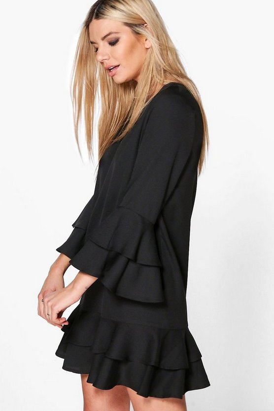 Ruffle Tiered Shift Dress