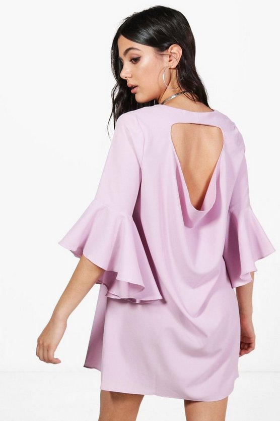 Misse Flute Sleeve Cowl Back Shift Dress