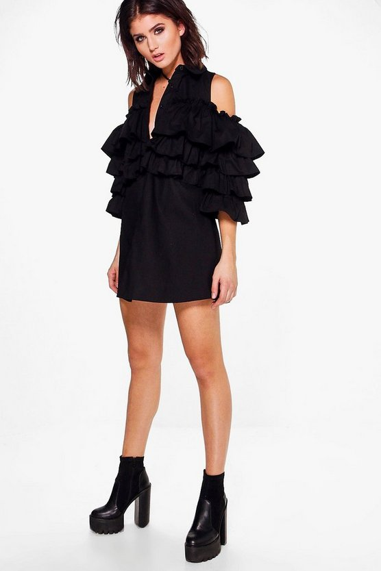 Tiered Ruffle Shirt Dress