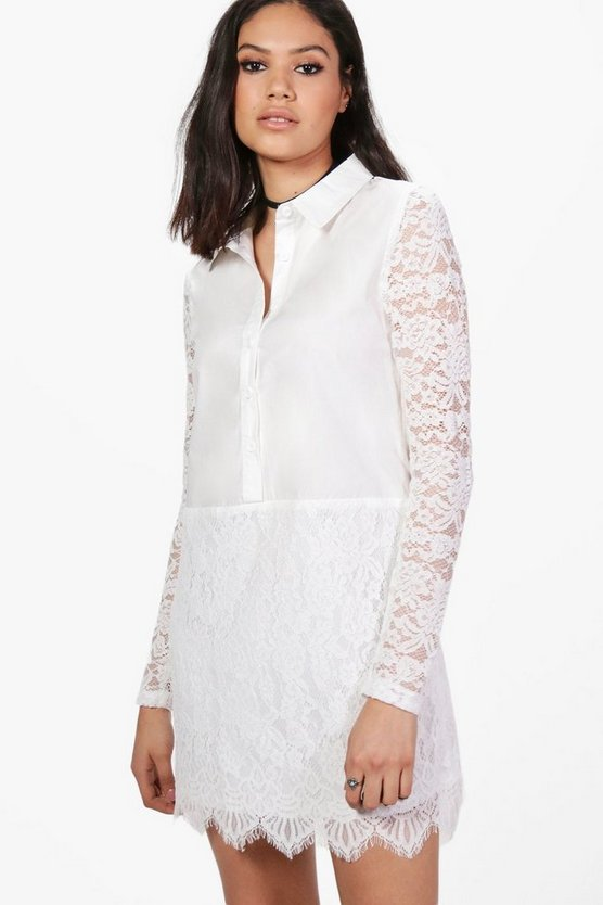 Womens White Jacinta Lace Panelled Shirt Dress