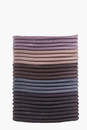 Womens Multi Brunette 24 Piece Elastic Bobbles