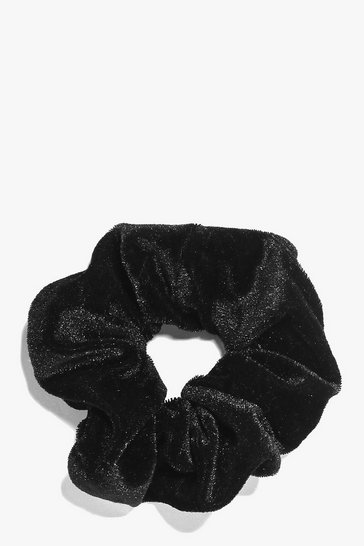 Womens Black Velvet Scrunchie