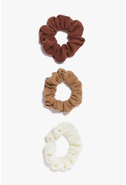Womens Brown 3 Pack Scrunchies