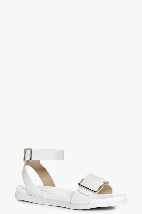 Tegan Buckle Detail Two Part Flat Sandals
