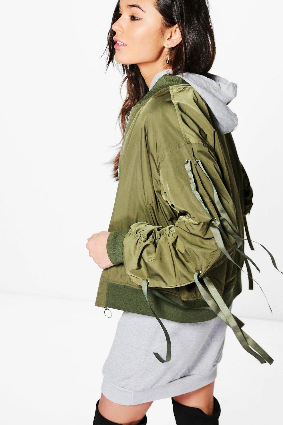 76c3e6550 Jessica Lace Up Sleeve Sporty Bomber Jacket