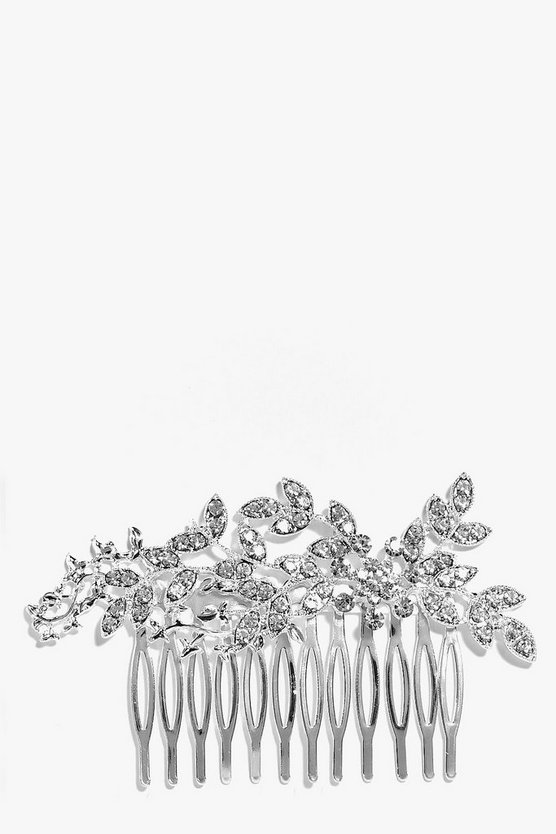Womens Silver Bridal Embellished Leaf Hair Comb