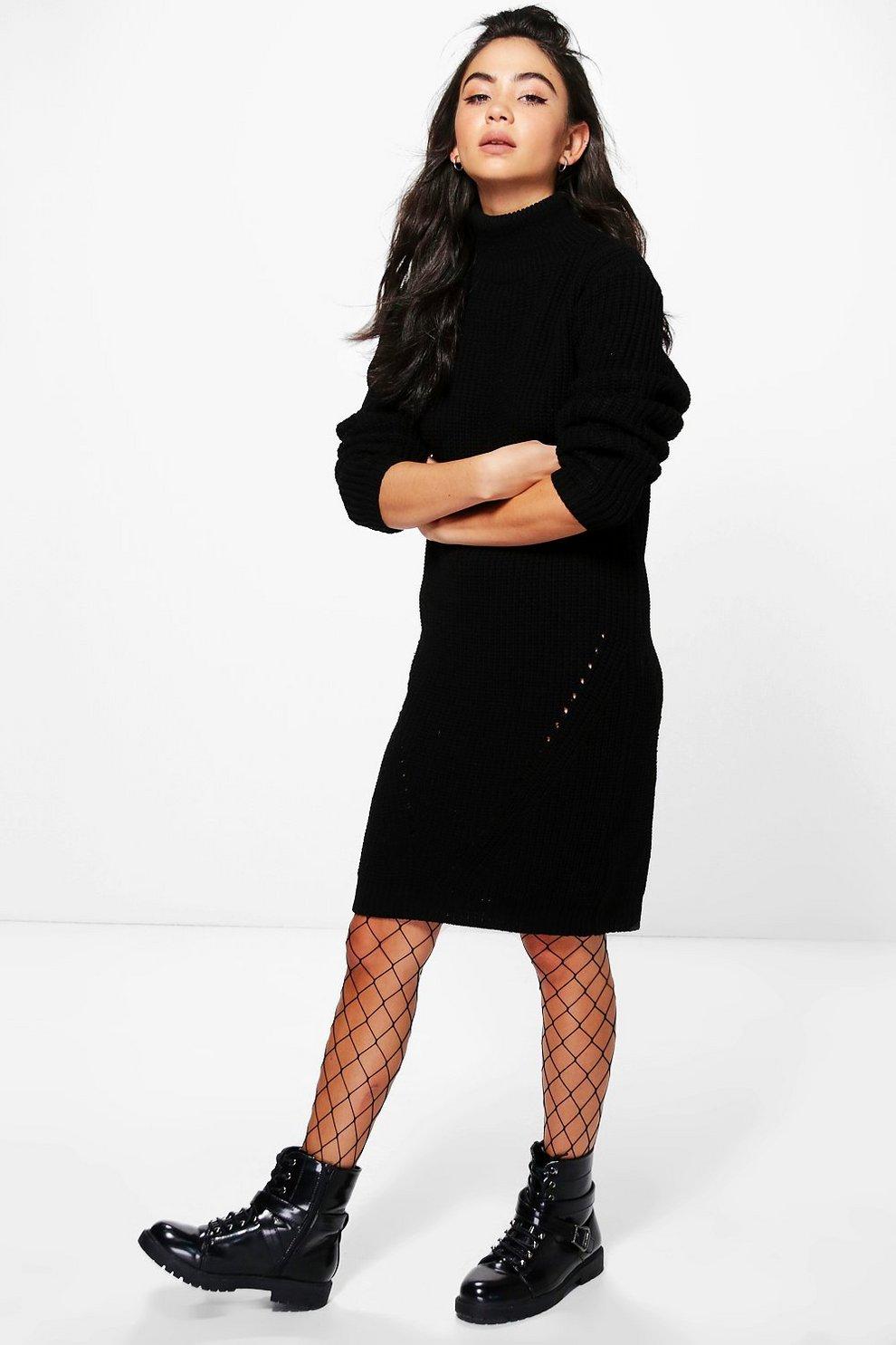 Scarlett Funnel Neck Chunky Knit Jumper Dress Boohoo