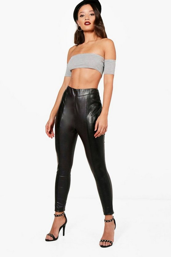 Ava Seam Front Premium Leather Look Trousers