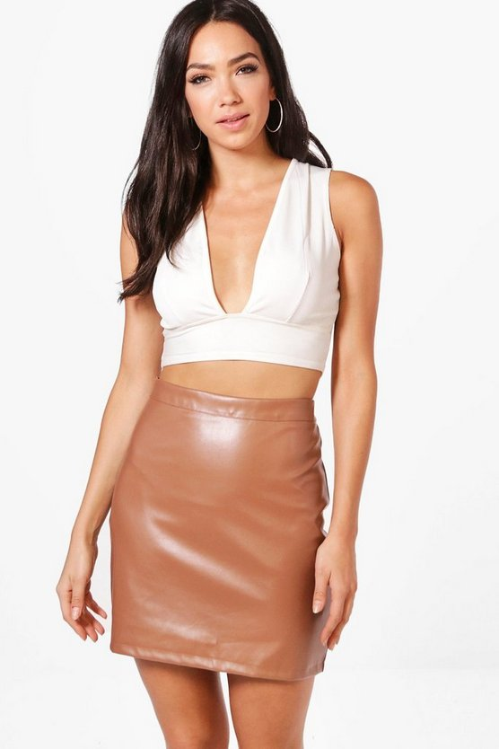 A Line Leather Look Mini Skirt