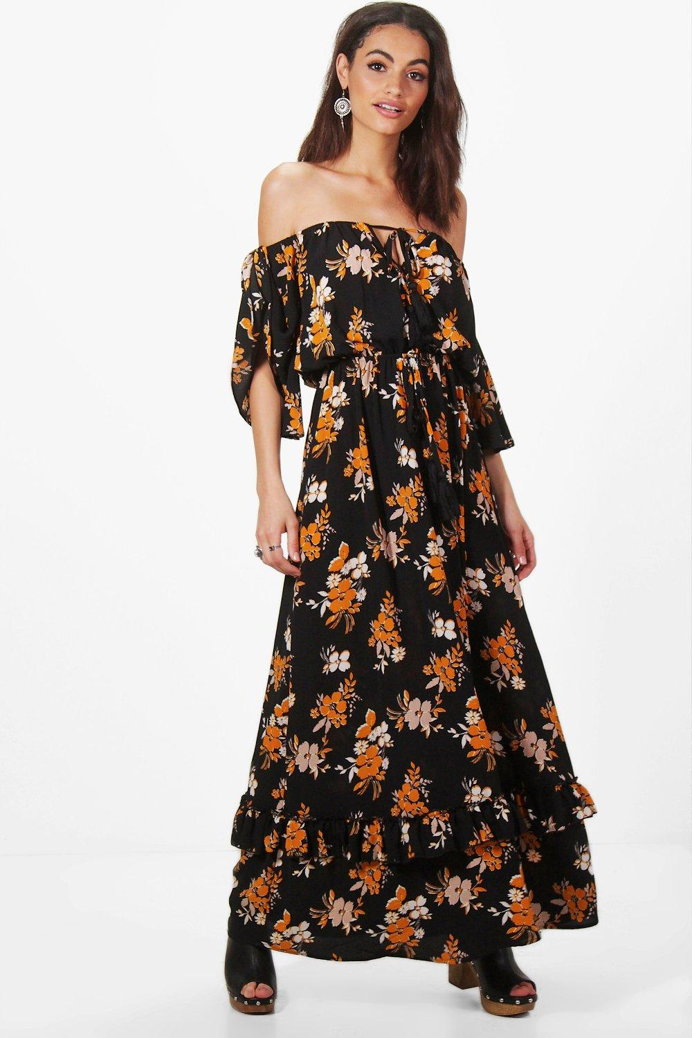 0b9dd414a96 Womens Black Hollie Floral Off Shoulder Ruffle Maxi Dress. Hover to zoom