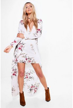 Womens White Floral Mixi Hem Maxi Dress