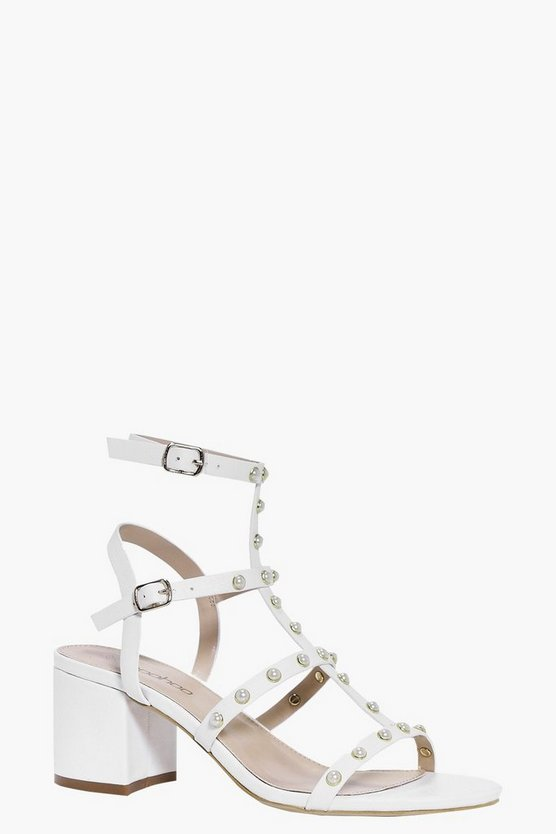 Willow Pearl Trim Gladiator Block Heel