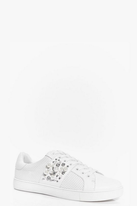 Pearl And Diamante Trim Lace Up Trainers