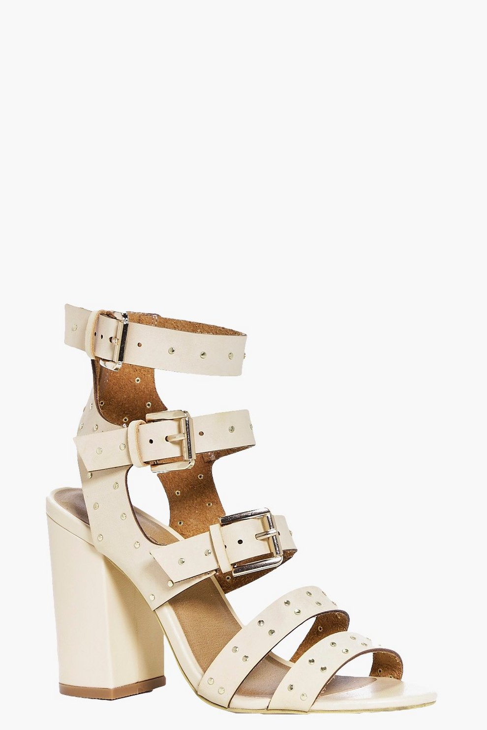 4d4fbf571 Eloise Studded Trim Gladiator Block Heel