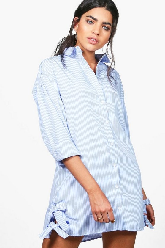 Dariela Stripe Tie Side Shirt Dress