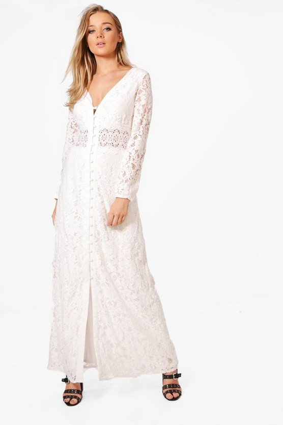Boutique Elise Crochet Waist Lace Maxi Dress