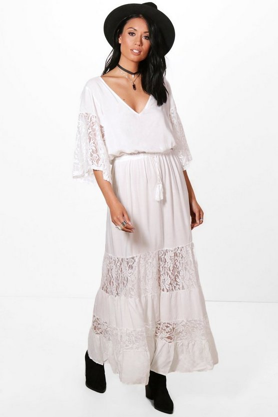 Lace Panelled Maxi Dress