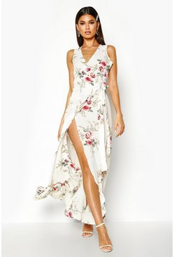 Womens White Floral Wrap Ruffle Hem Maxi Dress