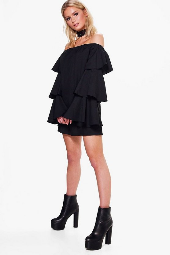Vi Off Shoulder Ruffle Shift Dress