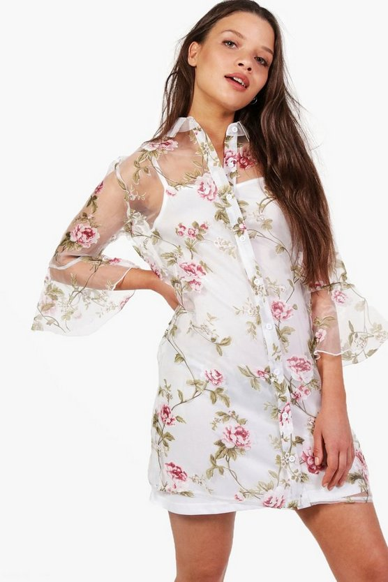 Aoife Floral Organza Flute Sleeve Shirt Dress