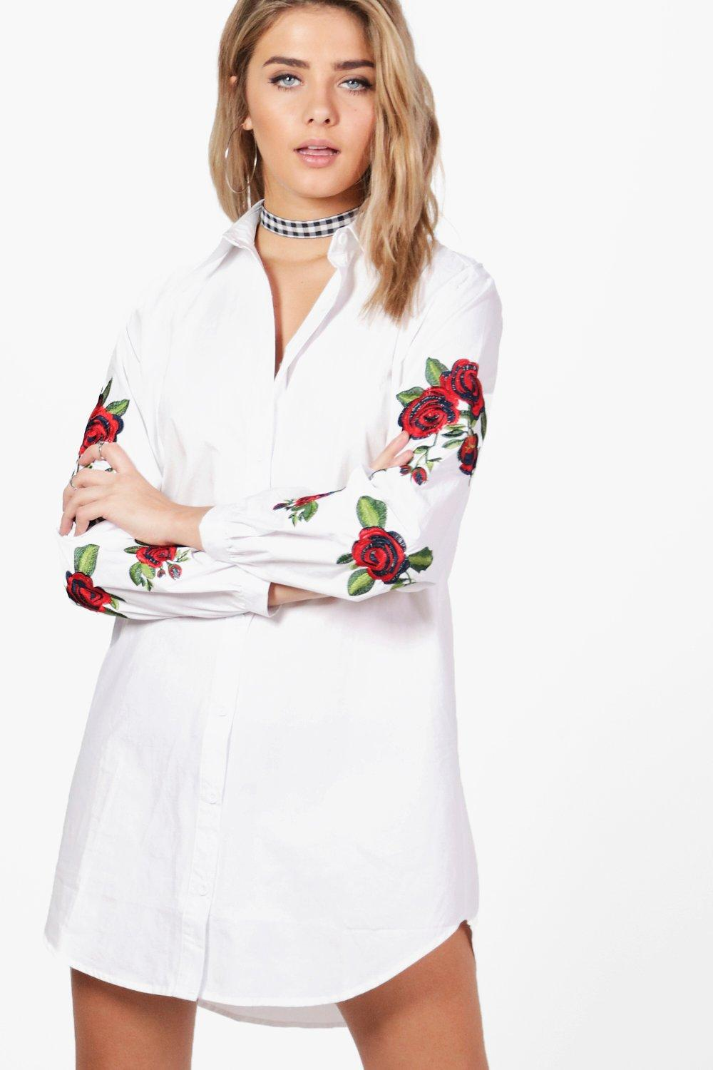 164c9437310c Womens White Floral Embroidered Shirt Dress. Hover to zoom