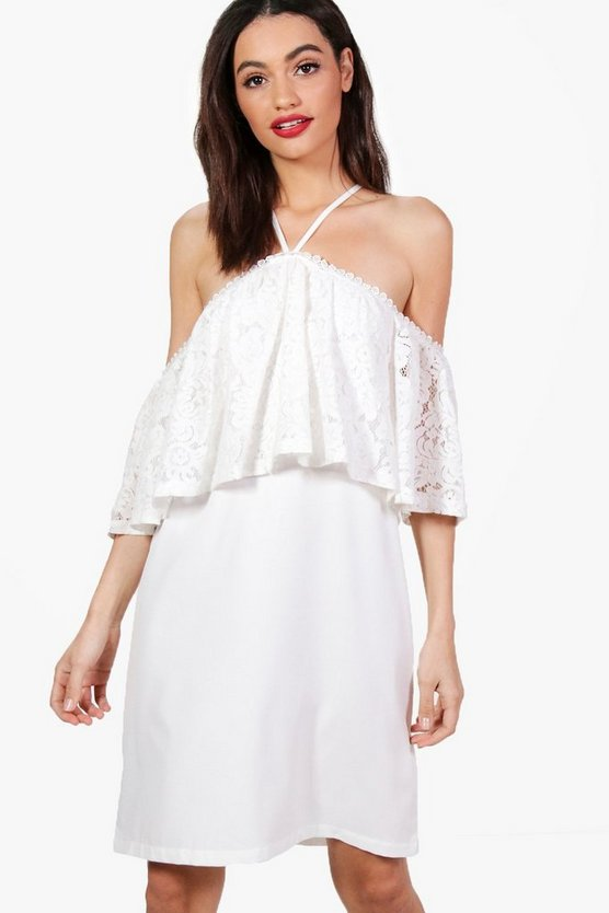 Cold Shoulder Lace Swing Dress