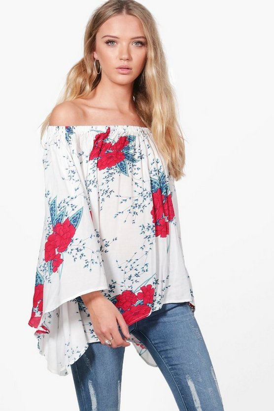 Brooke Volume Sleeve Floral Bardot Tunic