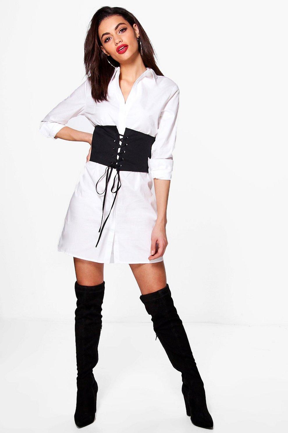 alicia robe chemise à lacets et corset devant   Boohoo d2a009413f0f