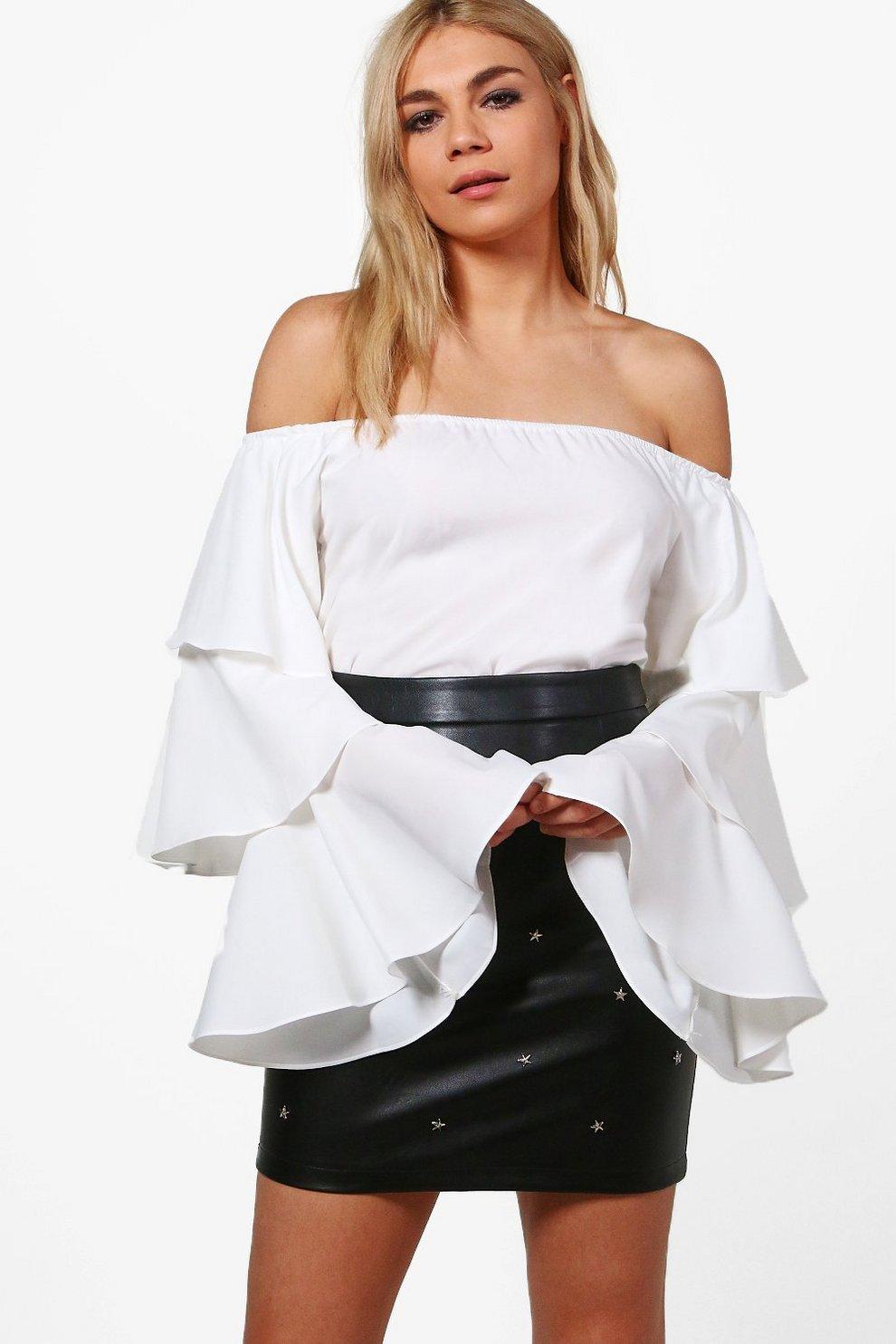 896e217b57 Felicia Ruffle Sleeve Bardot Top | Boohoo