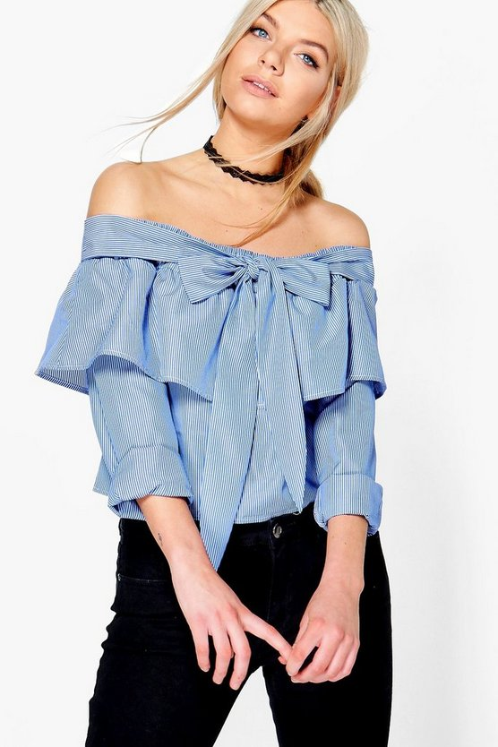 Billie Bow Tie Striped Bardot Top