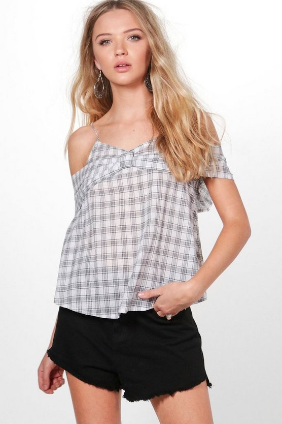 Cara Check Cold Shoulder Top